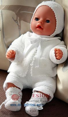 Wunderchöne Puppenkleider stricken - WEIßE KLEIDUNG, GESTRICKT MIT BAUMWOLLGARN, IST SEHR SCHÖN FÜR MEINE KLEINE BABYPUPPE
