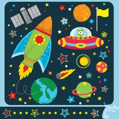 Outer Space Design Elements Set Os002 Personal and Commercial Use, cards, invitations, scrapbooking and all paper crafts. on Etsy, $5.00