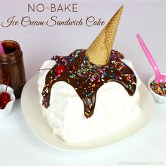 "Lindsay Ann Bakes: Easy No-Bake Ice Cream Sandwich Cake with ""Melting Cone"""