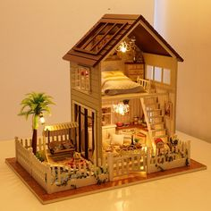 48.89$ Buy here - http://aliak7.worldwells.pw/go.php?t=32567870959 - Free Shipping Assembling DIY Miniature Model Kit Wooden Doll House,Paris Apartment House Toy with Furnitures 48.89$