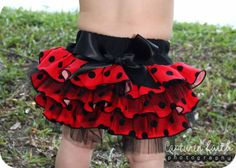 Ladybug Ruffled Bottom Bloomer/Diaper Cover 03mths by customcutees, $33.00