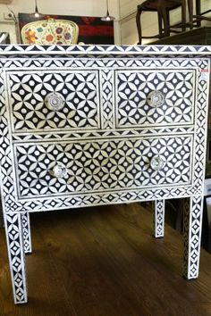 Beautiful Indian inlay bedside tables