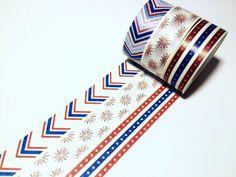Stars, Stripes and Fireworks, Patriotic Washi Tape, USA by DaisyGreyPretties on Etsy https://www.etsy.com/listing/292627797/stars-stripes-and-fireworks-patriotic