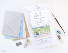 Draw inspiration from your venue with custom illustrated save the dates! 100% original art by Michelle Mospens. #weddings #weddingideas #weddinginvites #weddinginspiration #weddinginvitations #destinationwedding  | Mospens Studio - Unique Save The Dates