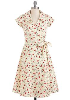 This is beyond adorable.  A *tad* out of my price range, but adorable!! :) Cherry a Tune Dress - Long, Yellow, Red, Green, Brown, Novelty Print, Casual, Wrap, Short Sleeves, Spring, 50s