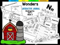 """This Kindergarten interactive journal is aligned to Common Core and to the McGraw Hill Wonders series for Unit 3-Week 2. This 17 page highly INTERACTIVE journal is ideal for teaching all of this week's skills in a powerful, student-friendly way!Complete Set Includes:-Mini Anchor Chart/Activities for Letter """"Nn"""",and Genre (Fantasy) -""""Nn"""" Handwriting Practice-Foldable for """"Clang!"""