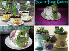 Recycle Reuse Renew Mother Earth Projects: Recycle Teacup Gardens & Fairy Gardens