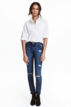 Skinny Regular Jeans - Ciemnoniebieski denim - ONA   H&M PL 1
