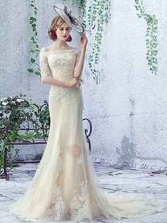 Tidebuy.com Offers High Quality Off the Shoulder Appliques Half Sleeve Mermaid Lace-Up Wedding Dress, We have more styles for Wedding Dresses 2016