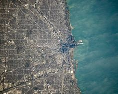 Chicago Lake Michigan Shore from Space Satellite by EclecticForest