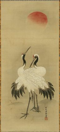 Cranes and Sun        旭日双鶴図        Japanese, Edo period, latter half of the 18th century      Kano Tôshun Yoshinobu, Japanese, 1747–1797    Dimensions      Image: 111.5 x 49.6 cm (43 7/8 x 19 1/2 in.) Overall: 215 x 71.4 cm (84 5/8 x 28 1/8 in.)  Medium or Technique      Hanging scroll; ink and color on silk  Classification      Paintings     Type      Hanging scroll  Catalogue Raisonné      KJM2-Kano-229b  Accession Number      11.6439  Not on view