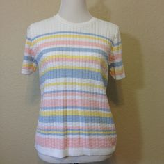 White Ribbed Short Sleeve Sweater with Pale Blue, Yellow & Pink Stripes by Alfred Dunner Petite, Ladies Petite Extra Large, Made in USA by Oldtonewjewels on Etsy