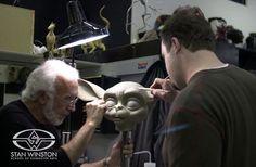 "Stan Winston checks the progress of Trevor L. Hensley's sculpture for the SWS/MIT co-created ""Leonardo"" robot."