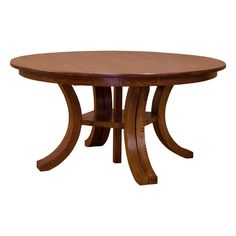 "This Amish Carlyl Split Base Dining Table w/ 6-Leaves is built in the Heartland of America by Amish craftsman and remains true to the Arts & Crafts style and tradition. The table features a split base that allows it to go from an accommodating size of 60"" round to a spacious width of 132"" with six (6) 12"" leaves for those special family events. In addition, the table has a unique center support column, that adds stability to the table when fully opened   The simplicity and quality of this…"