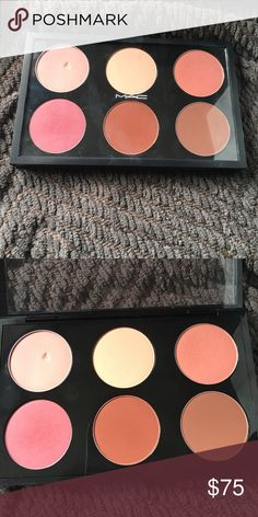 MAC custom Blush Palette Shades in this palette are Swiss Chocolate, Raizin, Mocha, Stay By Me, Stubborn, and Peachykeen. Mocha was damaged moving the pan from the individual sleeve to the palette. Have been swatched, but not used. MAC Cosmetics Makeup Blush