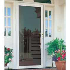 Shop LARSON Williamsburg White Full View Tempered Aluminum Glass And  Interchangeable Screen Storm Door (