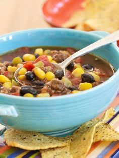 With ground beef, black beans, and corn, this main dish soup is like a taco in a bowl. Serve tortilla chips on the side or crushed on top. | I think I'd sub the ground beef for shredded chicken or beef