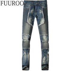 >> Click to Buy << Men Jeans 2016 Men Biker Jeans Patchwork Pleated Motorcycle Fashion Casual Designer Brand Denim Slim Jeans CBJ-T0085 #Affiliate
