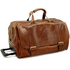 Italian leather weekend bag with wheels... complete with a ...