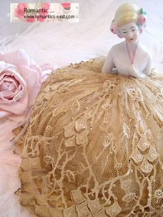 antique lace half doll pin cushion