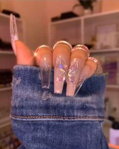 Acrylic Nails Coffin Ombre, Summer Acrylic Nails, Coffin Nails Long, Summer Nails, Ongles Bling Bling, Gel Nails, Pink Nails, Cute Acrylic Nail Designs, Butterfly Nail Designs