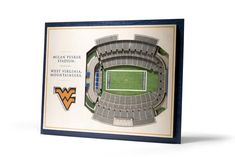 Add dimension to your decor with the Stadiumviews Wall Art. We take five layers, each in. thick, and assemble them to create a three-dimensional work of stadium art that commands attention. The light weight and the pre-cut notch on the 3d Wall Decor, 3d Wall Art, Wooden Wall Art, Wooden Walls, Art 3d, Beautiful Artwork, West Virginia, Three Dimensional