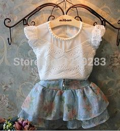 Fashion spring Style baby girls clothing sets flower T shirt + tutu skirt girls clothes Sets For Children's Clothes White Lace Shorts, White Lace Blouse, White Blouses, Red Shorts, Floral Shorts, Baby Outfits, Kids Outfits, Fashion Kids, Fashion Spring