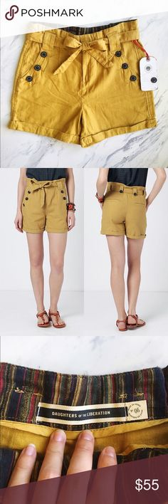 Anthropologie Mustard 'Breezy Paperbag Shorts' Perfect condition, never worn. Tags still attached (excluding price tag). Daughters of Liberations shorts, conservative and cute, perfect for summer, fall and spring! Anthropologie Shorts