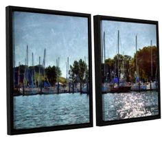ArtWall Kevin Calkins Summer Masts 2-Piece Floater Framed Canvas Set, Size: 24 x 36, Green