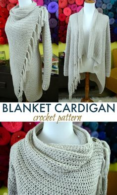 Blanket Cardigan crochet pattern for women in sizes small, medium, large, extra large, plus size