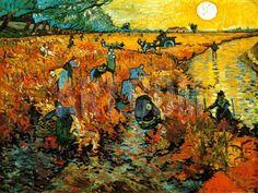 Vincent van Gogh - Red Vineyards of Arles. Pushkin Museum of Fine Art, Moscow. In his lifetime Van Gogh sold only one painting, and this is the one ! Art Van, Van Gogh Art, Paul Gauguin, Desenhos Van Gogh, Van Gogh Pinturas, Oil On Canvas, Canvas Art, Canvas Size, Free Canvas