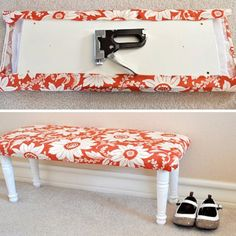 Easy DIY - a piece of wood, 4 legs (all of which are sold at Home Depot)- padding and then staple pretty fabric. Easy DIY bench for end of guest bed. Furniture Projects, Furniture Makeover, Home Projects, Home Crafts, Diy Furniture, Diy Home Decor, Antique Furniture, Bedroom Furniture, Modern Furniture