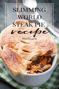 This Slimming World Steak Pie is a little different as it has a pastry lid rather than fully encased in pastry but that's good enough for me Slimming World Beef, Slimming World Fakeaway, Slimming World Recipes Syn Free, Beef Recipes, Cooking Recipes, Mince Recipes, Cooking Videos, Recipies, Steak Pie Recipe
