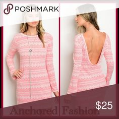 Coral and Ivory Slub Knit Dress Slub knit dress. 69% Polyester, 29% Rayon, 2% Spandex. Dresses Long Sleeve
