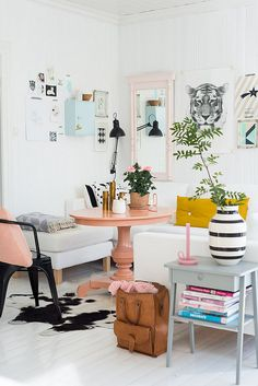 peach, mustard and pale blue, peach coral painted table, #DIY furniture painting, cowhide rug, scandanavian design