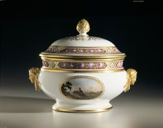 This soup tureen, made by the Imperial Porcelain Factory, was produced as part of Grand Duchess Maria Pavlovna's dowry for her marriage to Karl Friedrich, Grand Duke of Saxe-Weimar, in 1804;