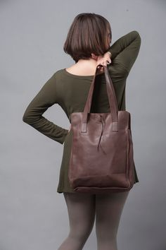 c13431a6fc91 Chocolate Brown Leather Tote Bag   Office Bag   Soft Leather Bag   Women  Purse