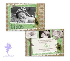 Baby- & Geburtskarten - Babykarte Geburtskarte Tobias - ein Designerstück von Feenstaub-Papeterie bei DaWanda