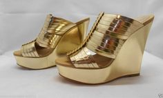 Coach Womens Bristol Wedge Heel in Shiny Metalic Gold Leather #Coach #PlatformsWedges