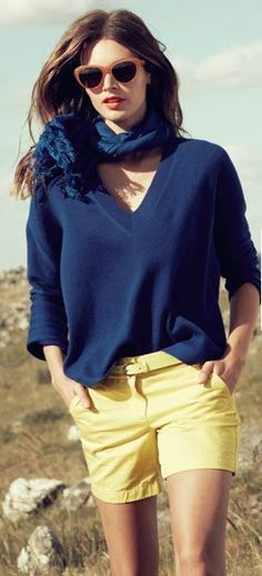 @roressclothes clothing ideas #women fashion blue sweater, yellow shorts
