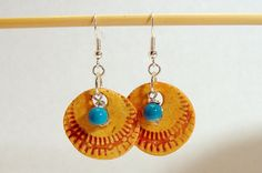 Orange & Turquoise Disc Shaped Dangly Earring by LeeOwenby on Etsy