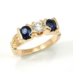 Gold Diamond and Sapphire Engagement Ring – Handmade Women's Rings, Handmade Engagement Rings, Sapphire, Jewels, Nice, Diamond, Gold, Accessories, Fashion
