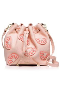 Kate Spade Flights of Fancy Pink Grapefruit Embellished Mini Bucket Bag; katespade.com