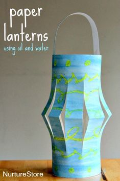 How to make paper plate lanterns using a beautiful oil and water technique - great Ramadan craft for kids.