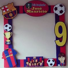 Today you will learn to organize and decorate the best children's party with a soccer theme, because we attach an idea for every detail. Decoration of a Messi Birthday, Soccer Birthday Parties, Football Birthday, Birthday Party Themes, Boy Birthday, Soccer Theme, Football Themes, Barcelona Soccer Party, Birthday Frames