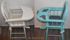 Chaise haute vintage bébé refait à neuf. Customisé avec 2 couleurs de base: Bleu Océan et vernie Transparent brillant. Pour un zéro déchet, zéro gaspillage, restaurons les objets au lieu d'en acheter.