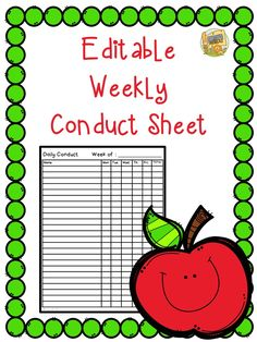 Editable classroom conduct sheet!  Super easy to use!  Just type in your students' names and print it out!  Makes keeping track of conduct a breeze!