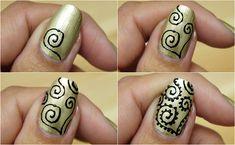 henna nail art step