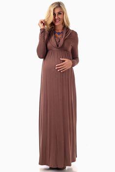 1adda06446e Mocha Cowl Neck Long Sleeve Maternity Maxi Dress
