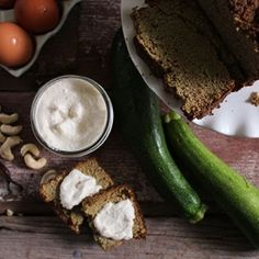 A classic zucchini bread turned gluten free and paleo friendly with a non-dairy sweet cream cheese spread.